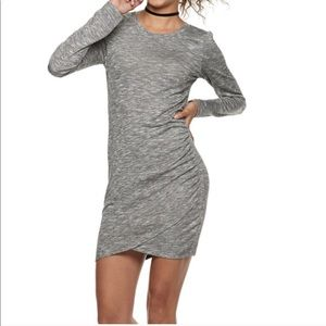 Love Fire Heather Grey Ruched Long Sleeve Dress